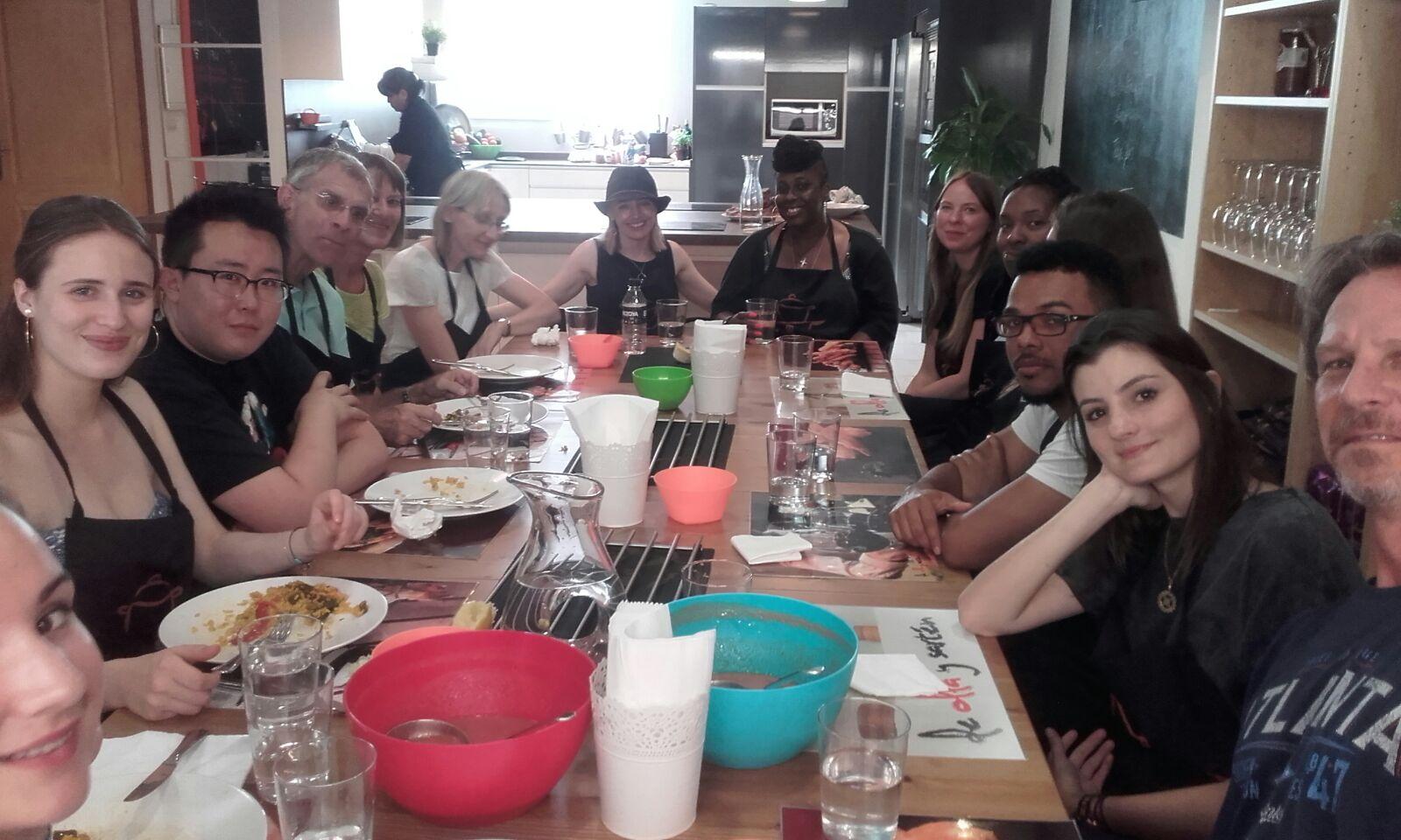clase de Cocina, estudiantes Lycee Nelson Mandela