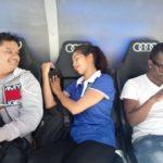 Ellien Barbosa, dormindo no estádio Santiago Bernabéu