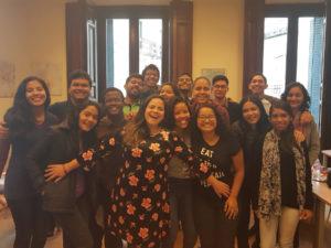 Fabiana Moura con los alumnos del programa Cidadão do Mundo