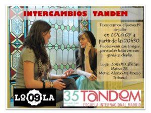 Intercambios de idiomas TANDEM en Lola 09, julio 2018