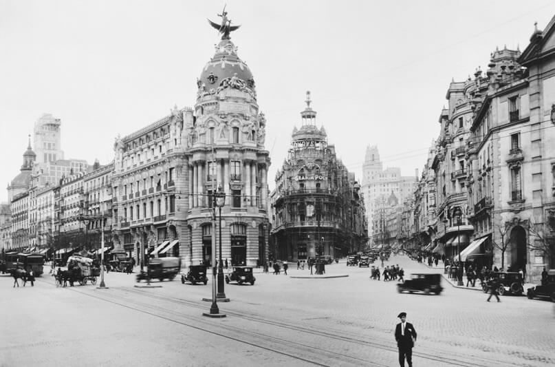 Foto antigua de la Gran Vía de Madrid