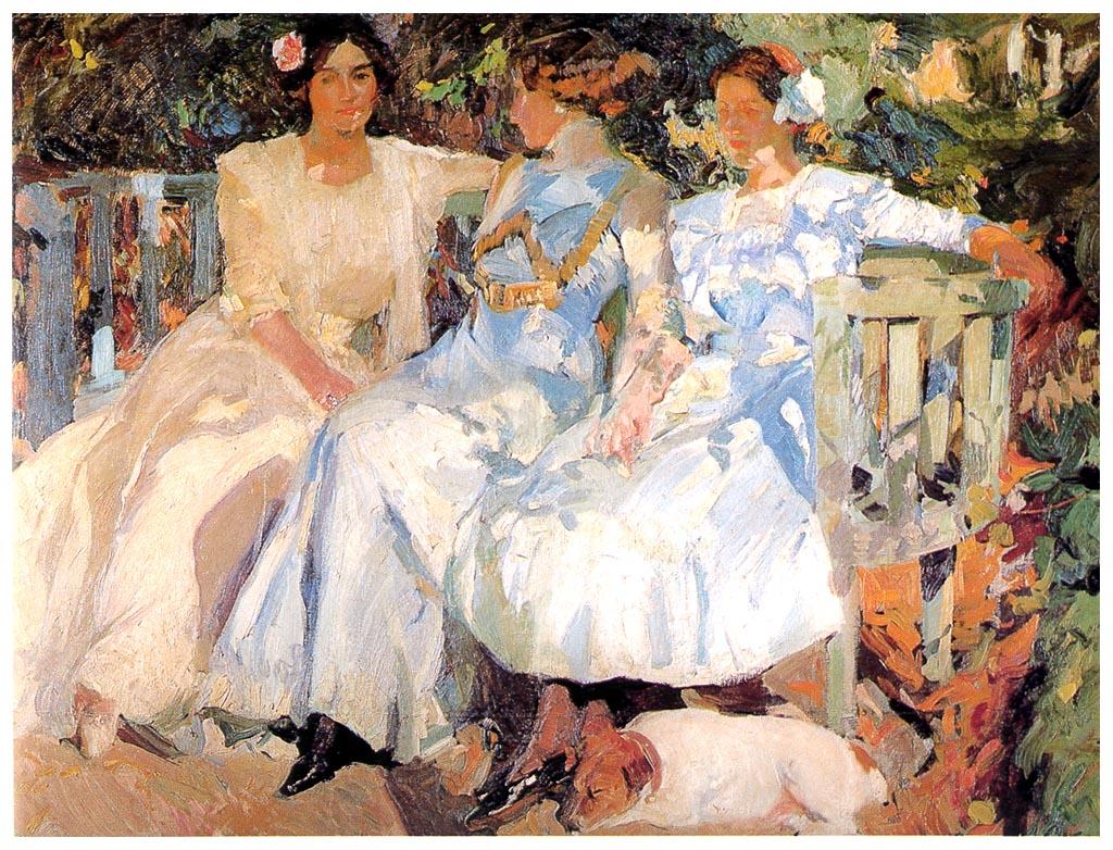 Sorolla Mi Mujer y Mis Hijas en el Jardín