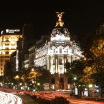 Calle Alcalá in Madrid at Night