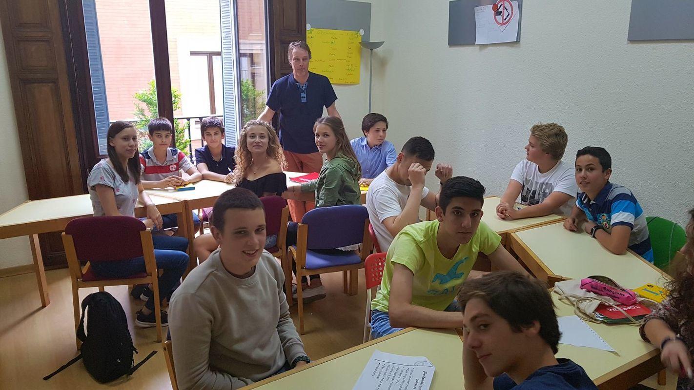 Tandem language exchange juniors exchange at classroom