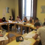 Students doing Spanish class exercises, TANDEM Madrid