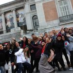 Spanish students group in front of the museum, TANDEM Madrid