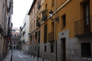 Typical street in Barrio de las Letras, Madrid